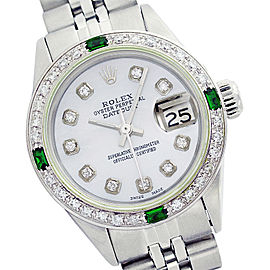 Rolex Lady Datejust Stainless Steel Mother of Pearl Diamond Dial & Emerald 26mm Womens Watch
