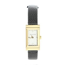 Gucci G-Frame Rectangular Quartz Watch Metal with Leather 14