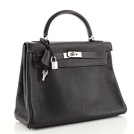Hermes Kelly Handbag Bleu Indigo Clemence with Palladium Hardware 32