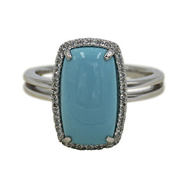 Lorenzo 14K White Gold Sleeping Beauty Turquoise & White Topaz Ring Size 7.25