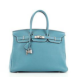 Hermes Birkin Handbag Bleu Jean Togo with Palladium Hardware 35