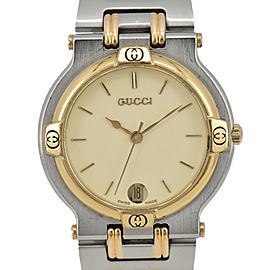 GUCCI 9000M Date SS/GP Quartz Men's Watch