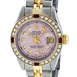 Rolex Datejust SS and 18K Yellow Gold Ice Pink Diamond Dial 26mm Women's Watch