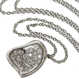 Tiffany&Co. Platinum 950 Elsa Peretti Curved Heart Pendant Necklace