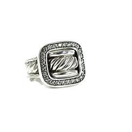 David Yurman Sterling Silver .49tcw Diamond Buckle Ring Size 7