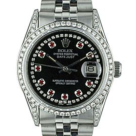 Rolex Datejust 16014 Stainless Steel with Black Dial Custom Ruby and Diamond Automatic Vintage 36mm Mens Watch