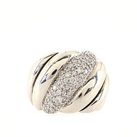 David Yurman Sculpted Cable Dome Ring Sterling Silver with Pave Diamonds 19mm