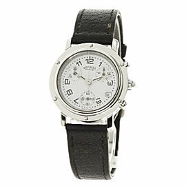 HERMES Stainless Steel/Leather Clipper CL1.310 Watch