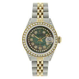 Rolex Datejust 69173 18K Yellow Gold & Stainless Steel Diamond Dial 26mm Womens Watch