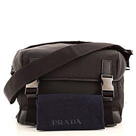 Prada Double Buckle Flap Messenger Bag Tessuto Large