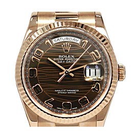 Rolex President Day-Date 118235 G Serial 18K Rose Gold Chocolate Wave Dial Complete Set