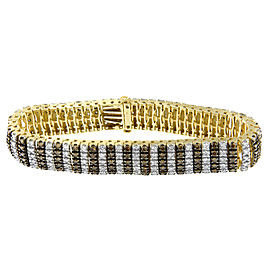 10K Yellow Gold 10.30ct TDW White and Champagne Color Multi-Row Diamond Tennis Bracelet