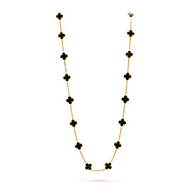 Van Cleef & Arpels Vintage Alhambra Yellow Gold with Onyx Long Motifs Necklace