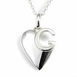 Gucci Sterling Silver G Heart Pendant Necklace CHAT-549
