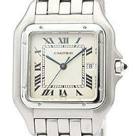 Polished CARTIER Panthere Stainless Steel Quartz Mens Watch W25032P5