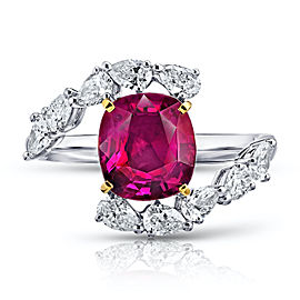 Platinum 18K Yellow Gold 3.36ct. Red Ruby 0.98ctw. Diamond Ring Size 7