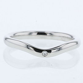 TIFFANY & Co 950 platinum/ diamond Curved band 1PD Ring