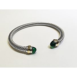 David Yurman Cable Collection Sterling Silver Green Onyx Bracelet