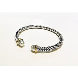 David Yurman Cable Collection Sterling Silver Freshwater Cultured Pearl Bracelet