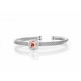David Yurman Sterling Silver 0.24ct Diamond Morganite Bracelet