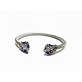 David Yurman Sterling Silver 0.05ct Diamond Amethyst Bracelet