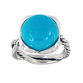 David Yurman Sterling Silver Cabochon Amazonite Ring Size 7
