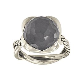 David Yurman Sterling Silver Hematite With Crystal Overlay Ring Size 7