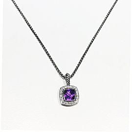 David Yurman Sterling Silver Pave Diamonds 0.17ct Amethyst Necklace