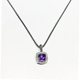 David Yurman Sterling Silver Pave Diamonds 0.17ct Amethyst Necklace
