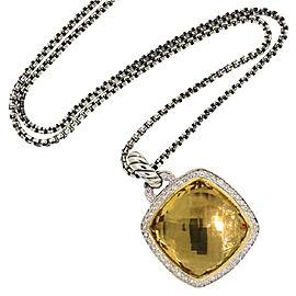 David Yurman Sterling Silver Pave Diamonds 0.38ct Champagne Citrine Necklace