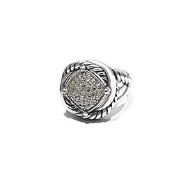 David Yurman Sterling Silver Pave Diamonds 0.42ct Ring Size 6.5