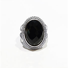 David Yurman Sterling Silver 18Mm X 13Mm Cushion Cut Oval Black Onyx Ring Size 7
