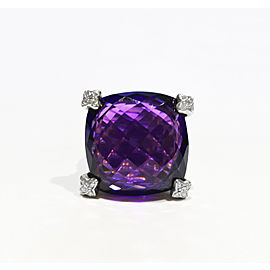 David Yurman Sterling Silver .10Ct Faceted Amethyst, 20 x 20mm Ring Size 6.5