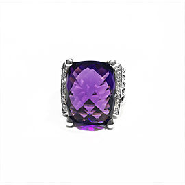 David Yurman Sterling Silver 0.23ct Faceted amethyst, 20 x 15mm Ring Size Size 6.5