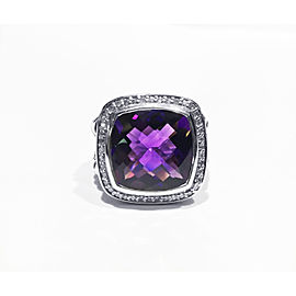 David Yurman Sterling Silver 0.31ct Faceted Amethyst, 14 x 14mm Ring Size 6.5