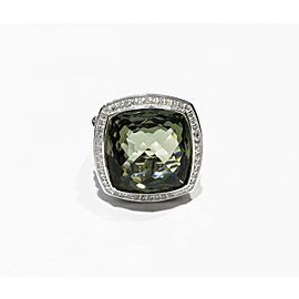 David Yurman Sterling Silver 0.42ct Faceted Prasiolite, 17 x 17mm Ring Size 7.5