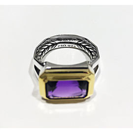 David Yurman Sterling Silver Emerald-cut amethyst 13 x 8 mm Ring Size 7