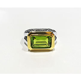 David Yurman Sterling Silver Emerald-cut peridot 13 x 8 mm Ring Size 7