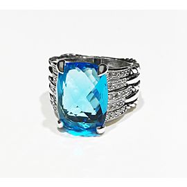 David Yurman Tides Statement Collection Sterling Silver 0.4ct Blue Topaz Ring