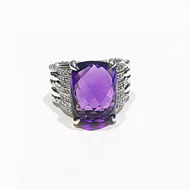 David Yurman Tides Statement Collection Sterling Silver 0.40 ct Amethyst Ring