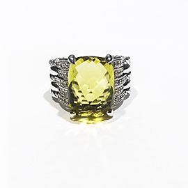 David Yurman Tides Statement Collection Sterling Silver 0.40 ct Peridot Ring