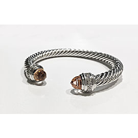 David Yurman The Cable Collection Sterling Silver 0.48ct Morganite Bracelet