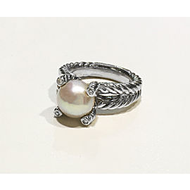 David Yurman Cable Collection Sterling Silver 0.05ct Cultured Freshwater Pearl Ring