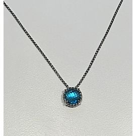 David Yurman Sterling Silver Blue Topaz Pendant