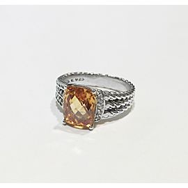 David Yurman Wheaton Collection Sterling Silver Morganite, 10 x 8mm Ring