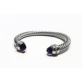 David Yurman Cable Collection Sterling Silver Amethyst Bracelet