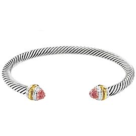 David Yurman Cable Collection Sterling Silver Morganite Bracelet