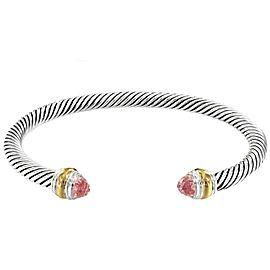 David Yurman Cable Collection Sterling Silver Morganite Bracelet