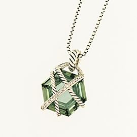 David Yurman Cable Wrap Collection Sterling Silver Prasiolite, 20x20mm Necklace