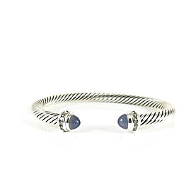 David Yurman Sterling Silver .20Tcw 5mm Chalcedony Diamond Bracelet